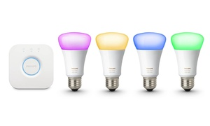 Philips Hue White/Color 4-Bulb A19 Gen 3 Smart Starter Kit with Bridge