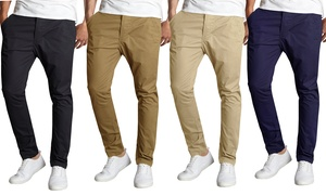 Galaxy By Harvic Men's Slim Fit Cotton Stretch Chino Pants (2-Packs)