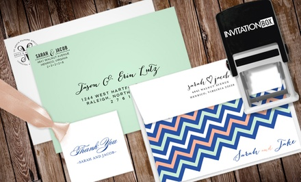 One Personalized Rectangular or Square Self-Inking Stamper from InvitationBox (Up to 60% Off)