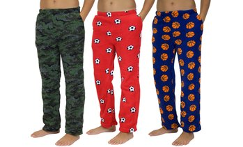 Boy's Super-Soft Fleece Plush Pajama Pants (3-Pack)