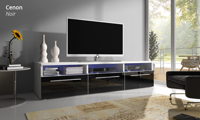 meuble tv avec led groupon shopping. Black Bedroom Furniture Sets. Home Design Ideas
