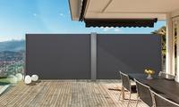 Paravent rétractable simple ou double en aluminium, dimensions et coloris au choix