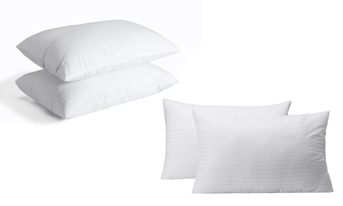 Pack of Four Herzberg Hotel-Quality Striped Pillows from £24.98