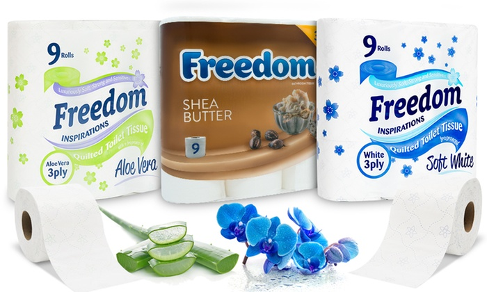 45, 90 or 135 Rolls of Freedom Three-Ply Toilet Paper from £12.99