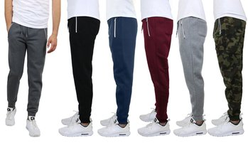 4-Pack: Galaxy by Harvic Men's Fleece Jogger Sweatpants (S-2XL)