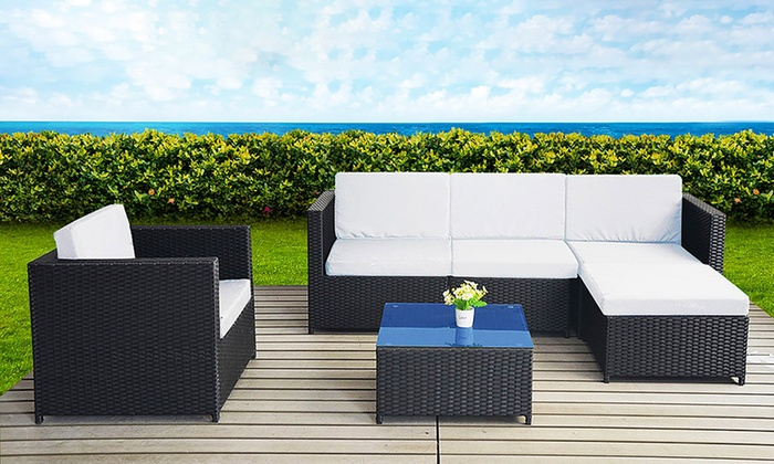 salon de jardin canap d 39 angle r sine tress e groupon shopping. Black Bedroom Furniture Sets. Home Design Ideas