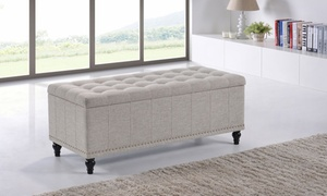 Kaylee Fabric Upholstered Button-Tufted Storage Ottoman Bench