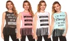 Juniors' Fringed Graphic Tanks: Juniors' Fringed Graphic Tanks