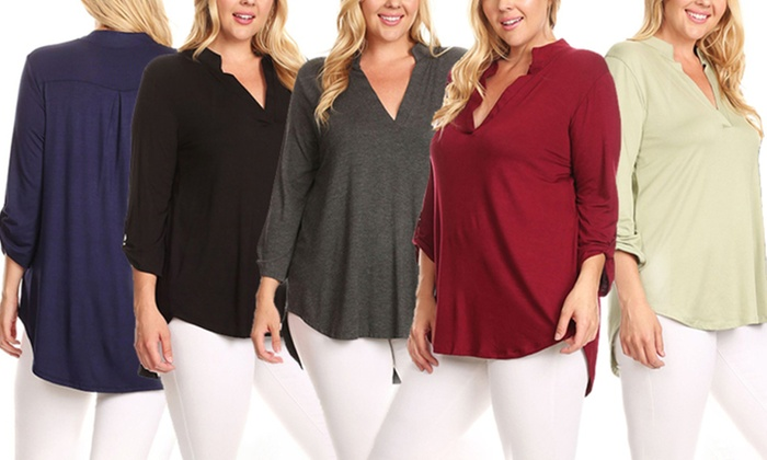 77f59db65429e Nelly Women s 3 4 Sleeve V-Neck Top in Plus Sizes