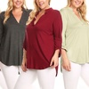 Nelly Women's 3/4 Sleeve V-Neck Top in Plus Sizes