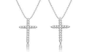 1/4 or 1/2 CTTW Diamond Cross Pendant in Sterling Silver by DeCara