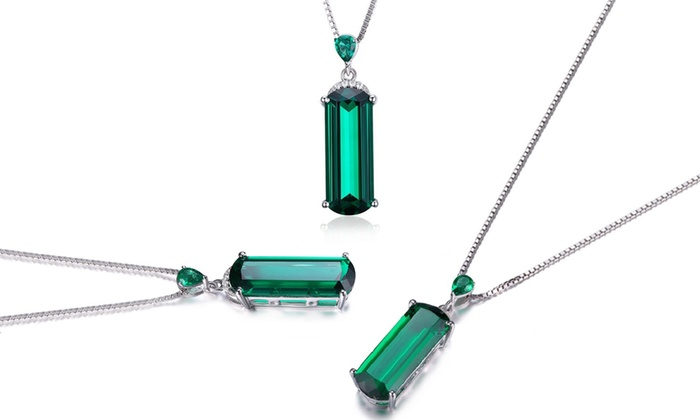 checker diamond emerald p gleam cut exclusive and necklace jewels