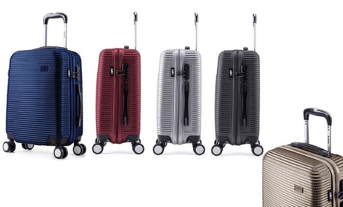Valise cabine ABS ultra résistant AIRV, collection STRIPE avec cadenas incrusté, coloris au choix