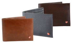 Alpine Swiss Men's Leather Trifold or Bifold Wallets