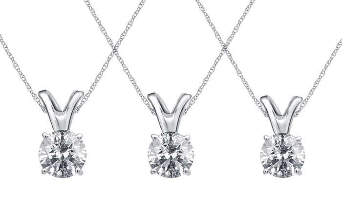 1/5—1/3 CTTW Certified Round Diamond Pendant in 14K Gold: 1/5—1/3 CTTW Certified Round Diamond Pendant in 14K Gold by Brilliant Diamond