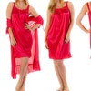 Women's Short-Sleeve Robe and Sleeveless Nightgown Set (2-Piece) (L)