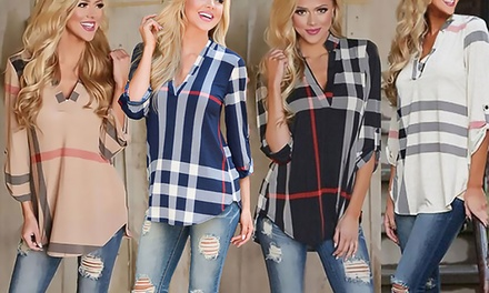 Women's V-Neck Checked Shirt for £9.98