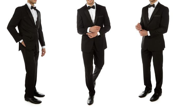 Alberto Cardinali Men's 2-Piece Slim-Fit Tuxedo with Free Tie and Pocket Square