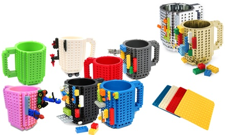 One, Two or Three Build-On Brick Mugs or Coasters