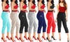 Women's Two-Button Zipped Super-Stretched 3/4 Cropped Capri Trousers
