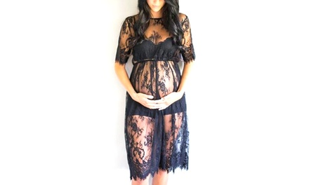 Black Lace Maternity Beach Dress