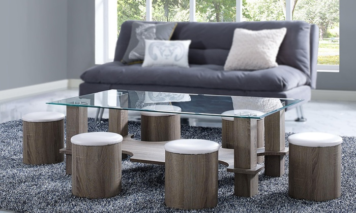 Tavolino etienne con sei sgabelli groupon goods