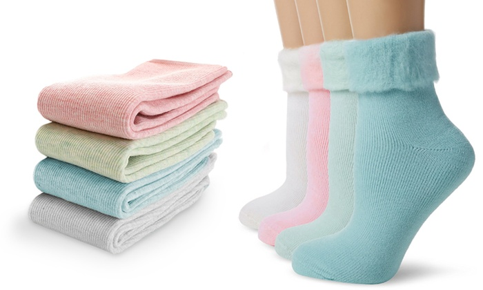 One, Two or Four Pairs of Thermal Pastel Bed Socks