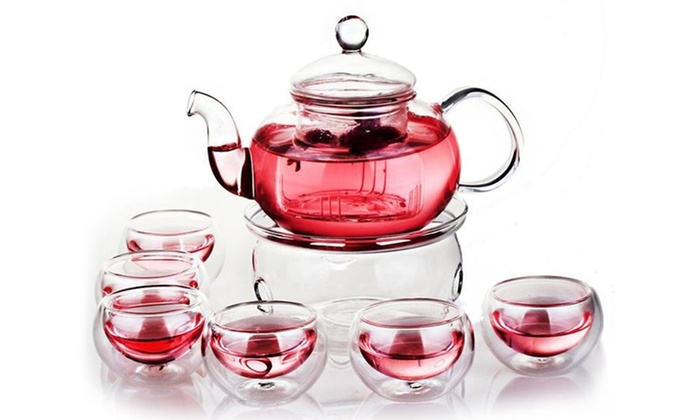 Ebtessam Mousa Trading FZE - Merchandising (AE): Glass Teapot with Filter, Teapot Warmer and Six Glass Cups from AED 129 (Up to 73% Off)