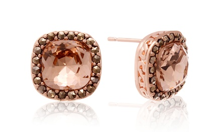 4.00 CTTW Cushion Cut Morganite Crystal Stud Earrings