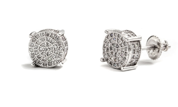 18k White Gold Plated Sterling Silver Cubic Zirconia Stud Earrings