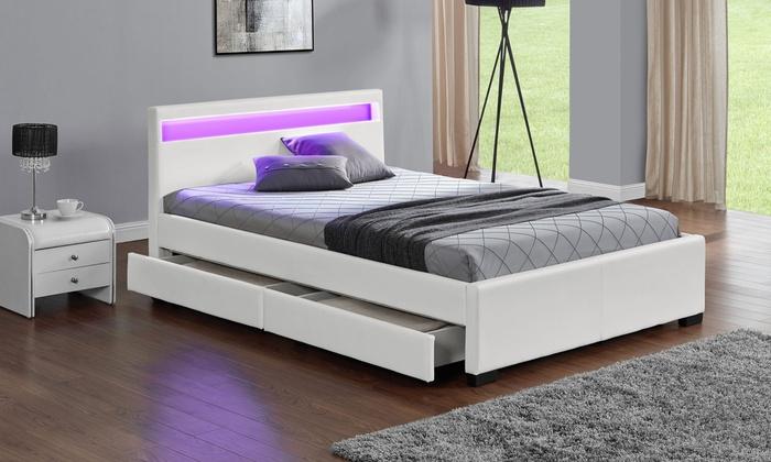 lit avec led beautiful lit adulte moderne x cm en similicuir avec led coloris noir en ce qui. Black Bedroom Furniture Sets. Home Design Ideas