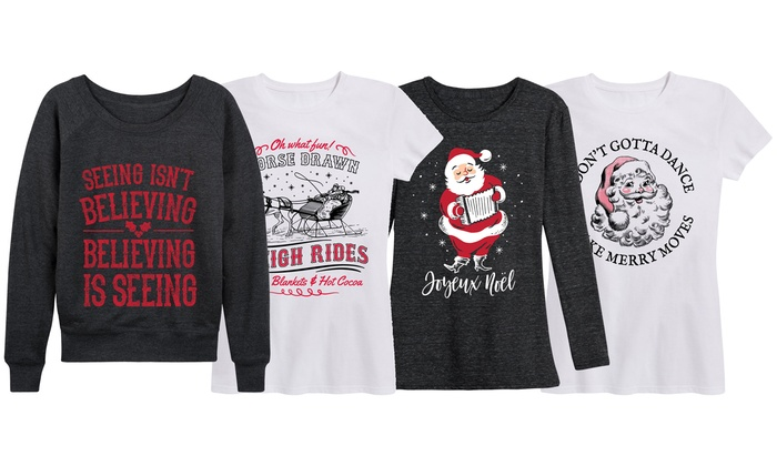 Christmas Tops Plus Size.Up To 58 Off On Retro Christmas Tops S Plus 4x Groupon Goods