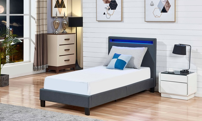 Fabric Bed Frame with LED Lights
