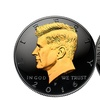 Black Ruthenium 2016 JFK Half Dollar Coin with 24K Gold JFK Portrait