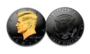 Black Ruthenium 2016 JFK Half Dollar Coin with 24K Gold JFK Portrait