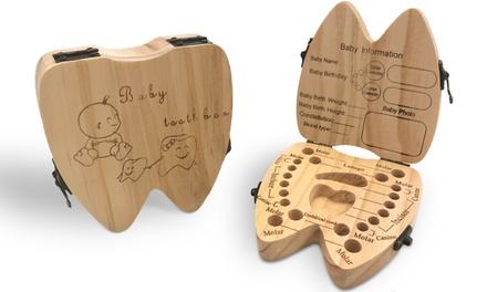 1x oder 2x Box für Milchzähne und Baby-Härchen in Form von Zahn (6,99 €)