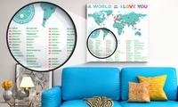 World of I Love You Canvas in Choice of Size from AED 69 (Up to 76% Off)