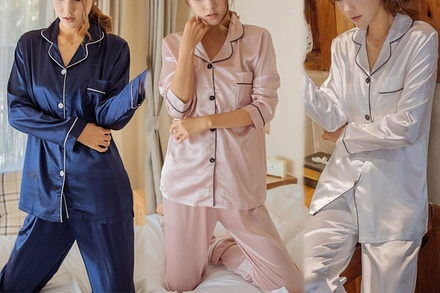 Women's LongSleeved Satin Pyjama Set: One $25 or Two $39