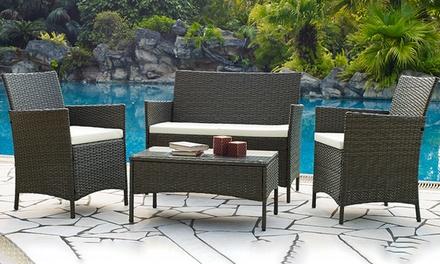 Salon de jardin Koh Tao résine, marron ou noire, avec coussins ...