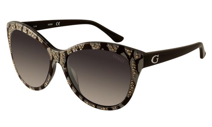 b65f4c3998a Guess Women s Rhinestone Accent Cat Eye Sunglasses GU7437 05B Black Smoke  Acetate Plastic 100% UV 56-15-135