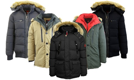 Spire by Galaxy Men's Heavyweight Winter Parka Jackets with Detachable Hood