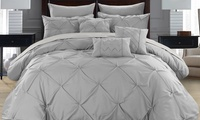 Deals on Sabrina Pinch Pleated Ruffled Comforter w/Sheets Set 8 or 10Pc Twin