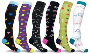 DCF Unisex Fun and Patterned Knee-High Compression Socks (3-Pairs)