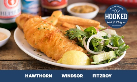 Fish+Chips/Brown Rice+Salad $7.95, 2 $15.90, 4 $31.80, Hooked Fish & Chipper, 3 Locations Up to $62 Value
