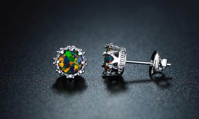 Rmont Lab Created Black Opal Crown Stud Earrings