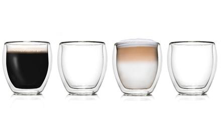 Set van 2, 4 of 6 dubbelwandige glazen 250 of 400 ml van Creano