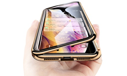 One or Two Magnetic Metal 9H Glass Phone Cases for iPhone X/XS, XR or XS Max