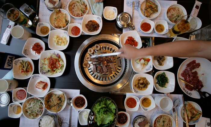 KPlace Food - Monument: Ten-Course Korean Buffet with Optional Bottle of Wine for Two or Four at KPlace (Up to 42% Off)