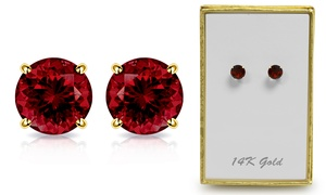 1.65 CTW Genuine Garnet Stud Earrings in Solid 14K Gold By MUIBLU Gems