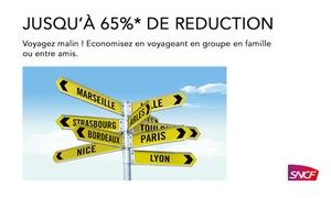 SNCF VOYAGES EN GROUPE: Jeu concours : Voyagez malin ! Economisez en voyageant à plusieurs en famille ou entre amis, jusqu'à 65%* de remise